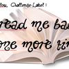 "Challenge-label ""Read-me baby one more time"""
