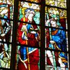 A mended stained glass window on the Way of St James