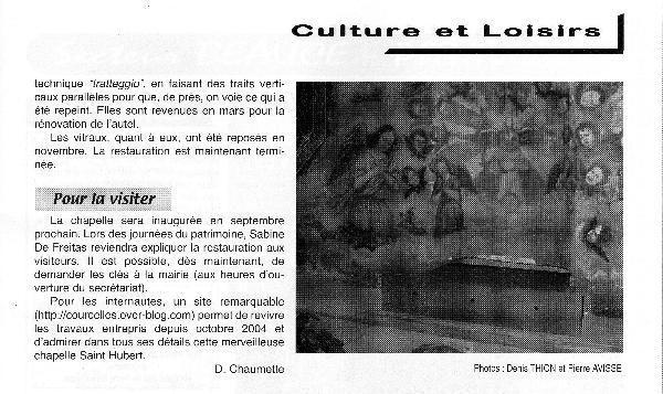 <strong><em>Voici la plupart des articles de presse parus au sujet de la restauration de la Chapelle Saint Hubert ...</em></strong>