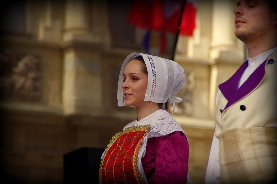 """Première du spectacle """"Nous sommes venus vous voir..."""", de l'Ensemble Musiques et Danses du CIOFF-France aux Sacres du Folklore, Reims 2012."""