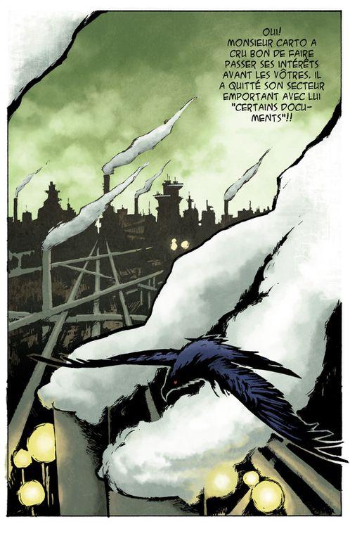 Premières pages de Saru - Projet steampunk. Dessin: Cédric De Mûelenaere Couleur: Alexandre de la Serna