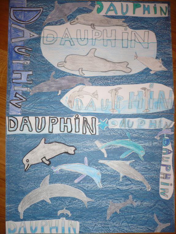 """Voici les 11 créations envoyées par des artistes à l'école dans le cadre du concours """"Dessine moi un dauphin!"""""""