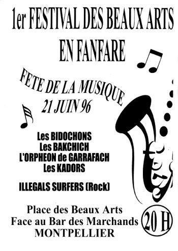 voici les affiches qui se sont succedees pour annoncer le Festival des fanfares de Montpellier