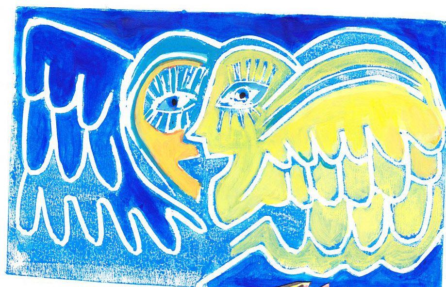 linogravure techniques mixtesgouache, crayon de couleur, encres