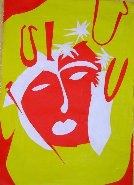Papiers Collés d'inspiration Matisse - Monotype gouache -