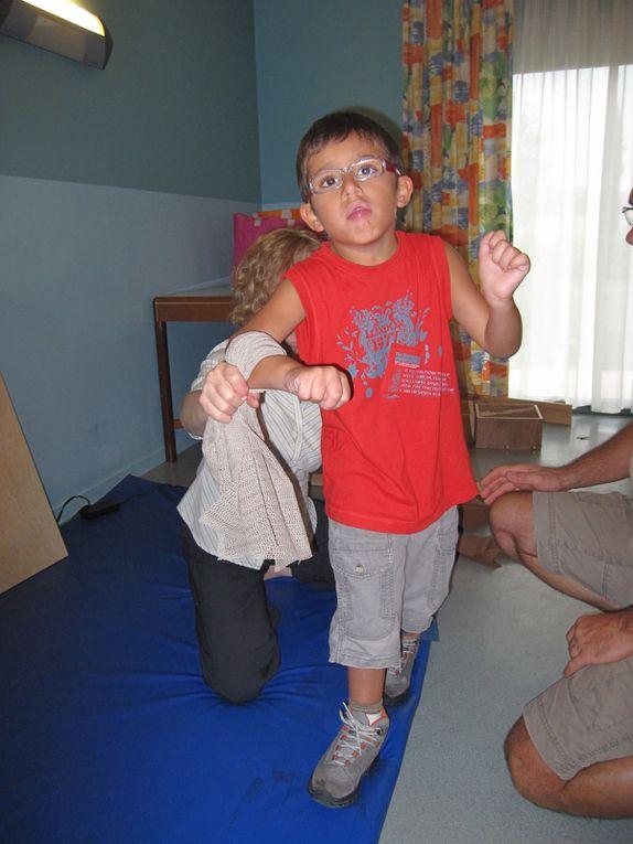 Pas beaucoup de photos nous avons beaucoup filmé, on passe aux exercices avec les tissus anti dérapant.