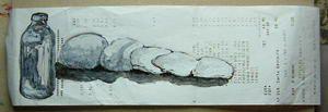 Petites oeuvres réalisées au feutres à pigment blanc et encre de chine. Les gris sont produits par réaction du papier