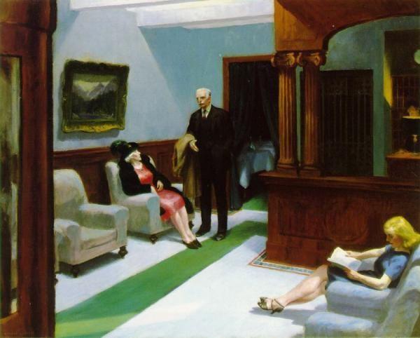 Edward Hopper,c'est de loin mon préféré, comme si ici-bas l'homme n'était que provisoirement posé...