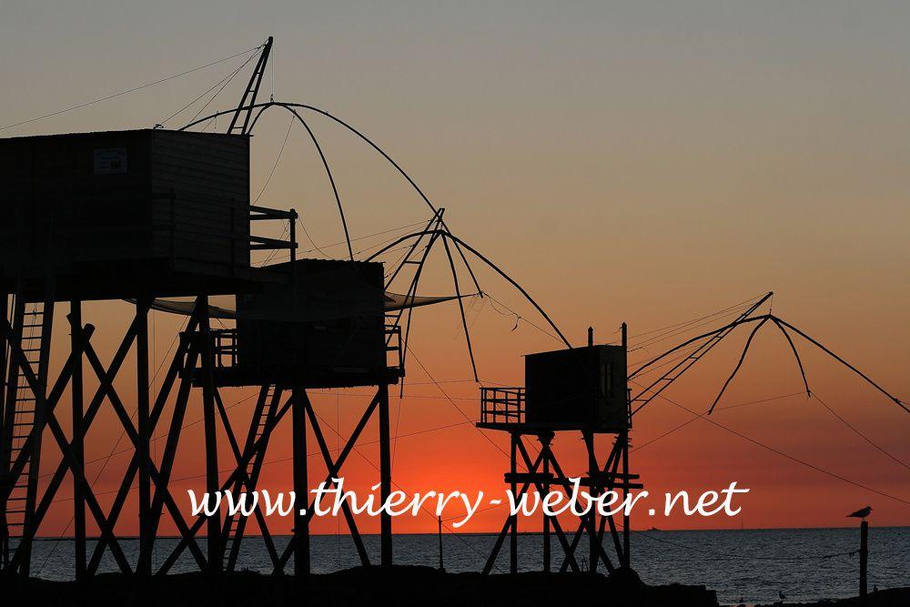 Couchés de soleil sur les pêcheries atlantique - Photos Thierry Weber Photographe de Mer La Baule Guérande