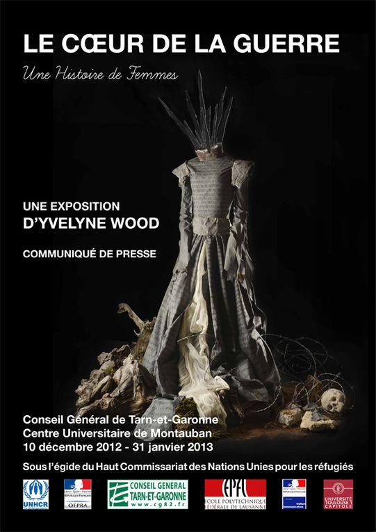"""""""Le Coeur de la Guerre"""" une expostion d'Yvelyne Wood dan le hall du Conseil Général de Tarn et Garonne.Photos du montage de l'exposition"""