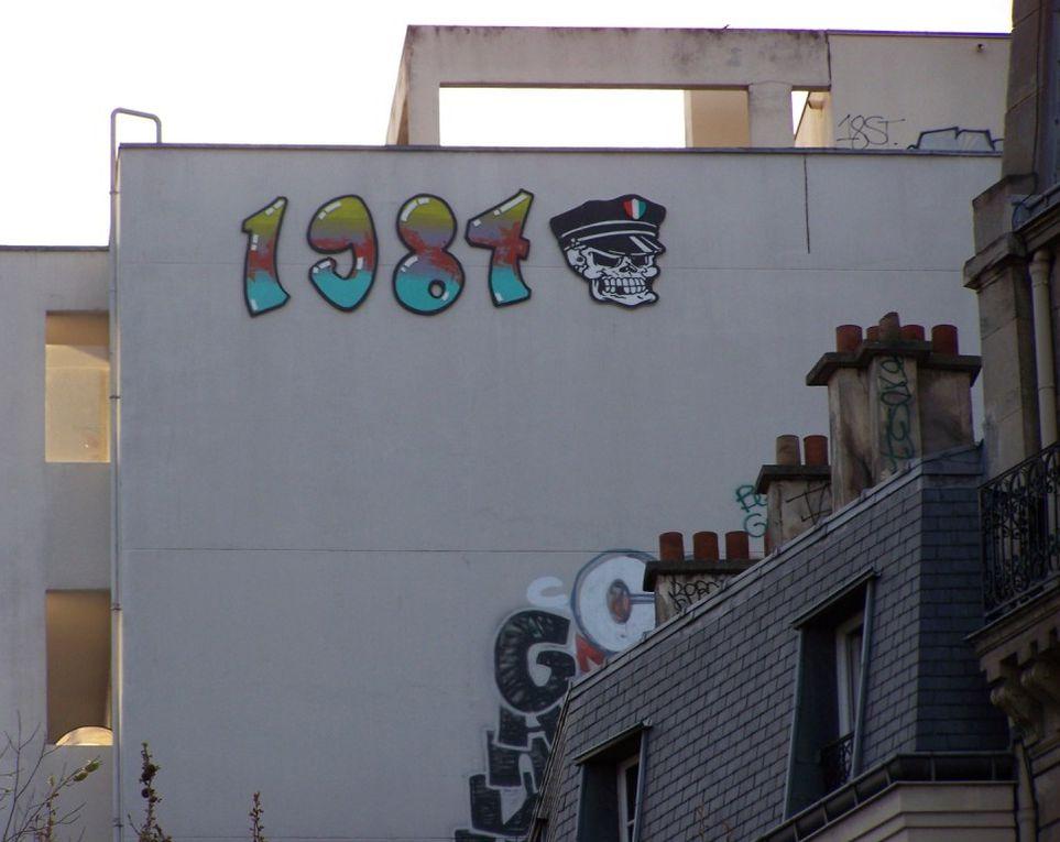 Tout a commencé, pour moi, par un 1984 rouge sur la place de la Nation. Depuis, ils se sont multiplié, ils sont partout, le crew de graffeurs 1984 est omniprésent (et ne se limite d'ailleurs pas à ce motif, mais c'est une autre histoire). Voici c