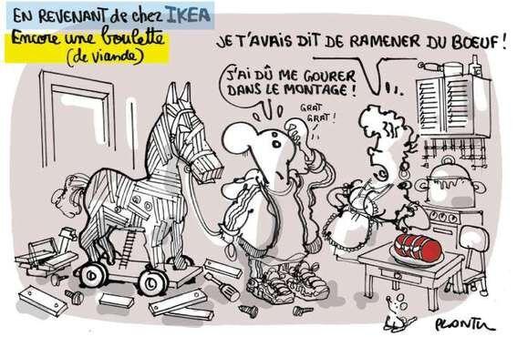 Humour: Bd, dessins, blagues illustrées, caricatures, détournements et parodies du scandal des lasagnes Findus à la viande de cheval - images droles