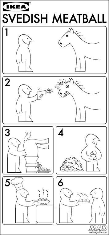 Viande de cheval à la place du boeuf(Panzani-Findus-Ikea-Buitoni,etc)