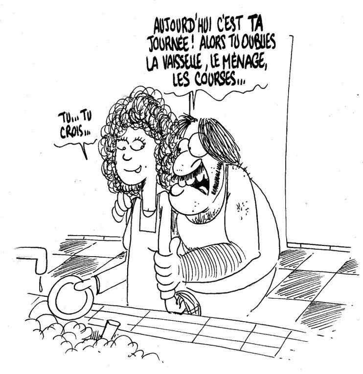 BD, caricatures, dessins humoristiques et amusants sur la journée de la femme et les thèmes associés : égalité, vie de couple , etc