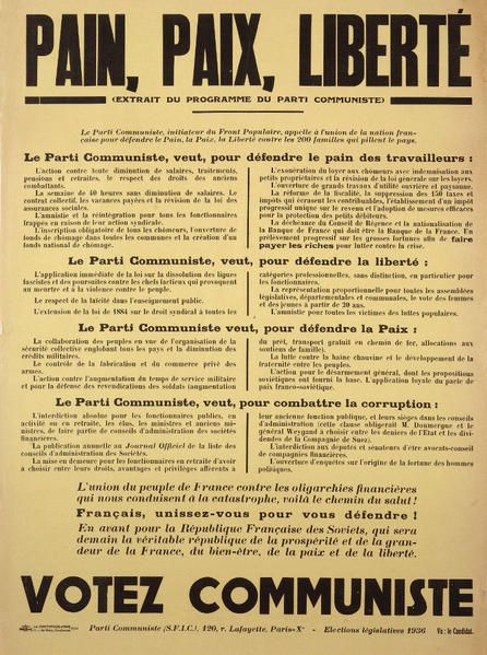 Affiches et livrets de chansons de 1936. Ann&eacute&#x3B;e de la victoire du Front Populaire, et aussi de la Guerre d'Espagne.<br />Source : Archives Michel Dixmier
