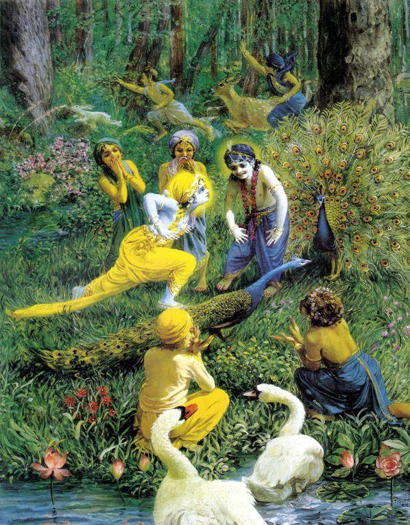 Krishna, la Personne Suprême, s'adonne à des divertissements purement spirituels et absolus. Ses divertissements font la joie des êtres spirituellement élevés.