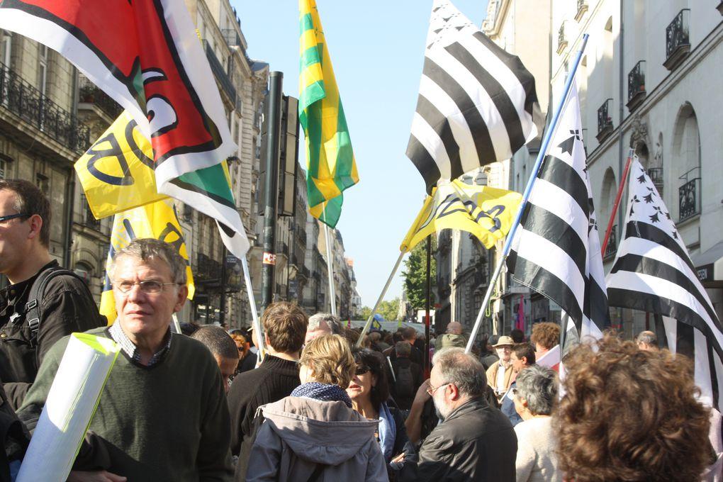 Photo de la manifestation de Nantes pour l'emploi et les retraites, le 12 octobre 2010.