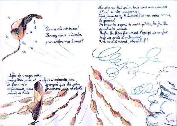 texte La Feuille et le Vent écrit par Clovis à l'age de 12 ans et illustrée par Mata