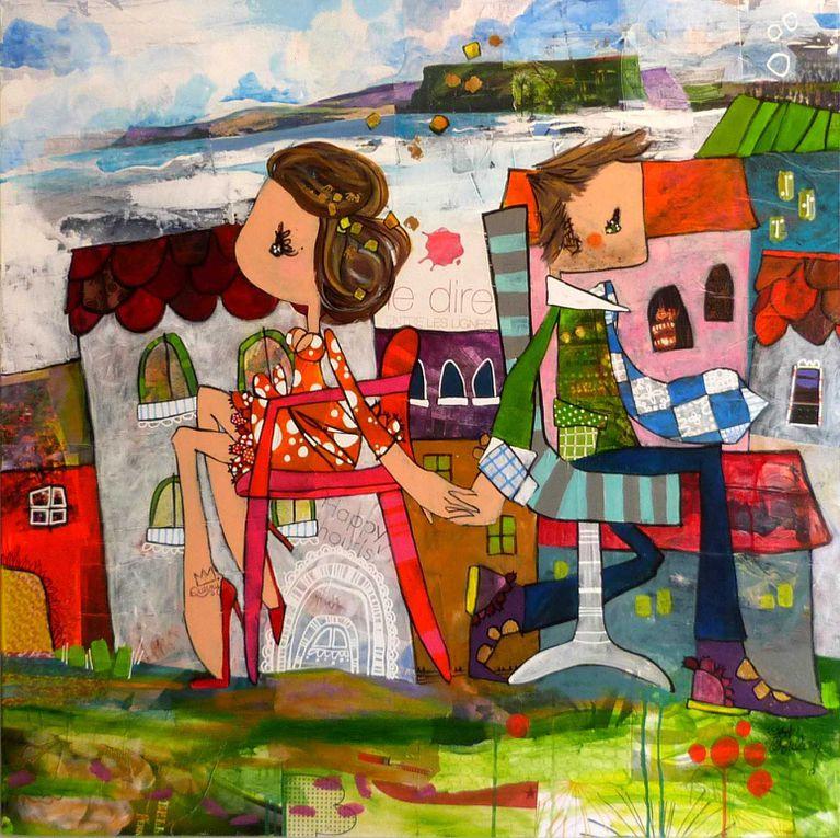 La démarche est de peindre les p'tits bonheurs simples de la vie avec l'emprunt volontaire des traits naïfs de l'enfance. Ludiques, colorés, les rendus s'offrent avec un fort jeu de transparence. COLLECTION PARTIELLE. Me contacter pour toute dispo