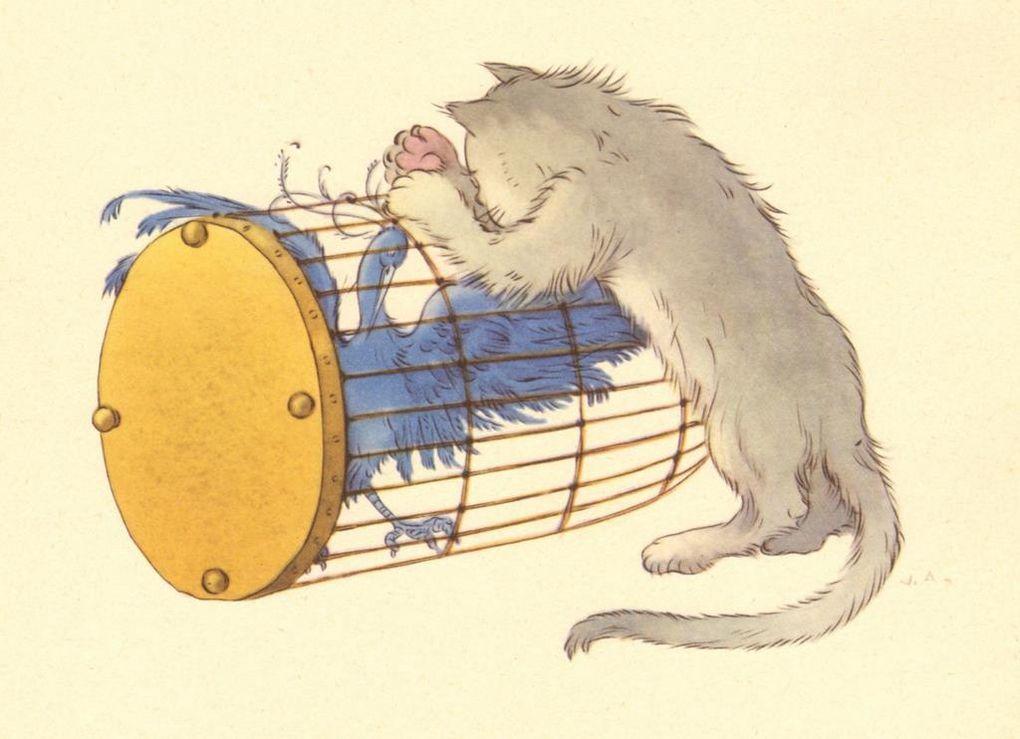 L'Oiseau bleu, un conte de Mme d'Aulnoy, illustré par Vittorio Accornero.