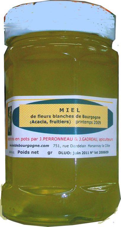miels  saison apicole 2009 récoltés en nos ruchers Api4 de Bourgogne