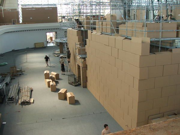This theatre was built inside of the Industrial Palace in Prague. During the PQ07 it was suppose to received all the students plays and lectures. The cardboard box and fiber glass were choose for their acoustic quality and they cost nothing as we cou
