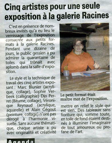 EXPOS a LA GALERIE Racines un espace de 50m2 à votre disposition si nous aimons votre travail