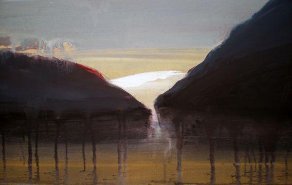 mes peintures paysages imaginaires du Rhône  toutes du même format 46x27cm