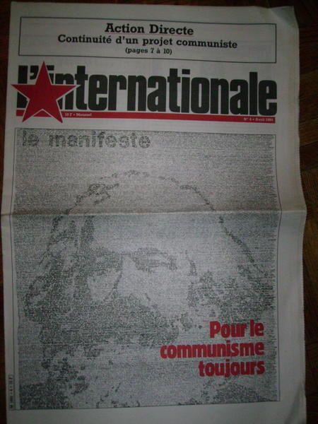 Courvertures du journal L'Internationale,mensuel ayant paru en 1983 et 1984