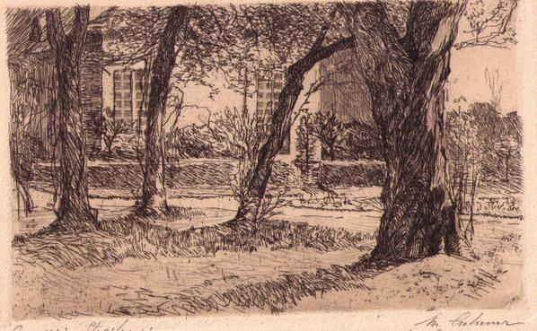 Maurice Achener est un paysagiste, les arbres sont un des éléments récurrents dans ses gravures. Il cherche à transmettre leur nature, ils ne sont pas un élément neutre dans le décor, ils ont une présence . <br /><br />Leur caractéristique