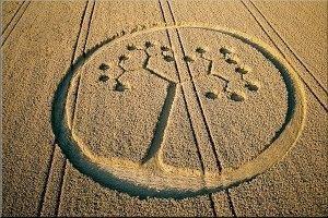 <p>Voici des figures géométriques géantes (jusqu'à 500 m) apparues depuis 2003 -en quelques minutes- dans des champs de céréales, surtout en Angleterre. On les appelle <em>crop circles :</em>cercles de cultures. Qu'est-ce que c'est ?On ne s
