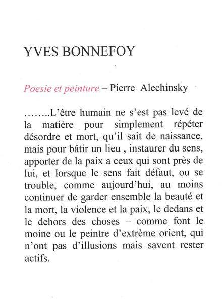 Texte d'Yves Bonnefoy sur le travail d'Alechinsky