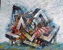 """<p>""""les villes"""" peintures acryliques sur toile. </p><p>Exposées par la Galerie Erval à la FIAC de 1988, elles connurent un grand succès.</p>"""
