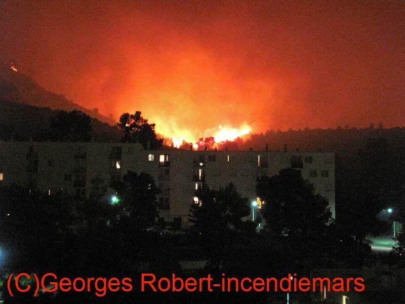 Les 22 et 23 juillet 2009 un gigantesque incendie qui aurait été causé par nos amis les bêtes, les militaires du camp de Carpiagne... Photos d'une catastrophe...