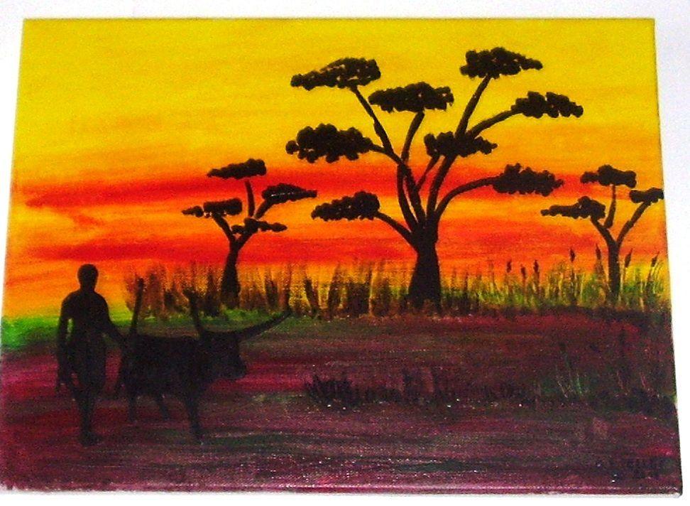 peinture sur toile en acrylique et avec application objet peint
