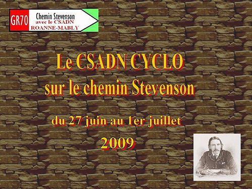 """du 27 juin au 01 juillet 2009 sept vététistes ont randonné sur le """"chemin de Stevenson"""" (GR70) depuis Monastier-sur-Gazeille jusqu'à Saint-Jean-du-Gard pendant que leurs cinq accompagnatrices faisaient une partie du parcours à pied"""