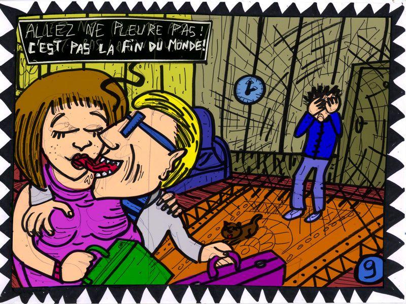 """23 heure de BD non-stop sur thème imposé à la dernière minute :""""Allez, c'est pas la fin du monde !""""Contrainte : Votre histoire doit inclure au moins un """"french kiss"""", hétéro ou homosexuel."""