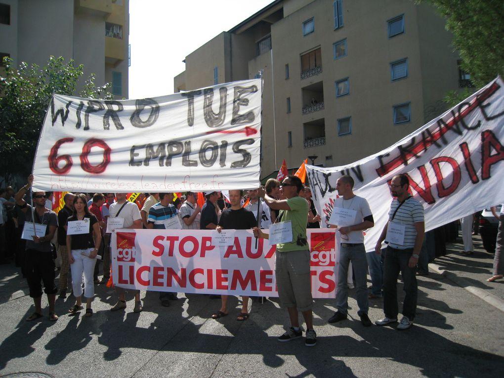 manifestation 25 septembre 2009 à Sophia Antipolis en soutien aux salariés de Wipro