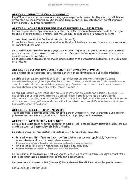 documents de l'association