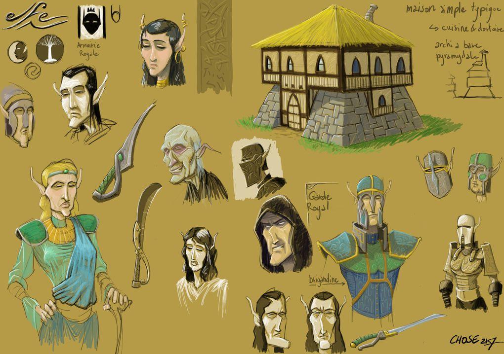 Une selection de divers croquis réalisés pour developper l'univers de Fisednain le Célère.