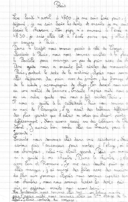 Suite à la sortie à Paris, les élèves de la classe ont raconté  ce qu'ils avaient fait, ce qu'ils avaient aimé...en voici quelques extraits.