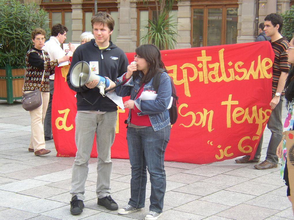 Manifestation de Jeunesses Communistes Strasbourg contre les licenciements boursiers 30/4/2009