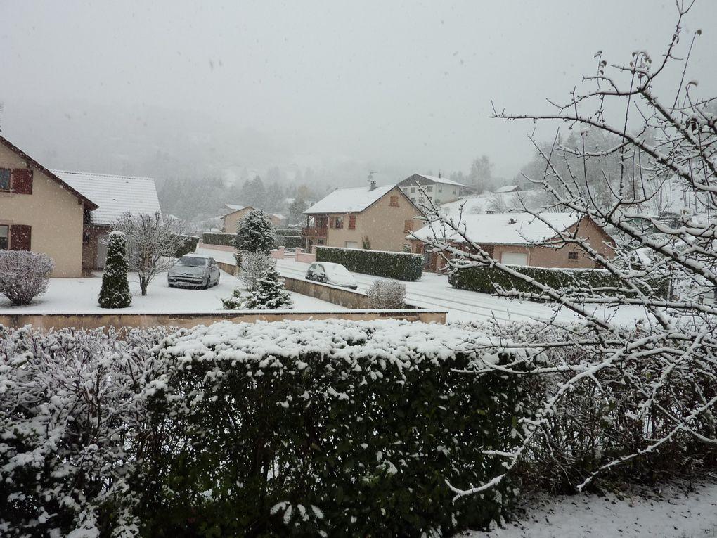 Voici quelques photos du paysage enneigé qui nous entoure ce matin. La neige continue à tomber en gros flocons. Nos géraniums ne sont toujours pas gelés, comme vous pouvez le voir ! C'est vraiment le début de l'hiver !