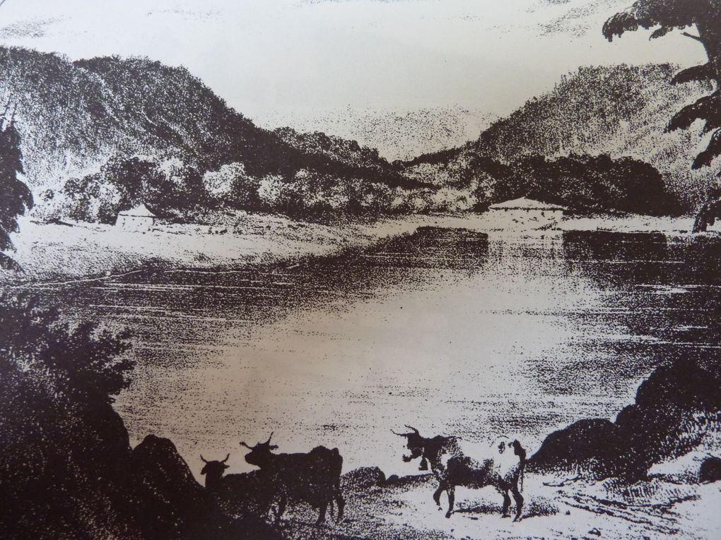 Quelques lithographies de E. RAVIGNAT de sites vosgiens réalisées  dans la première moitié du XIX ème siècle. Ces lithographies ont été diffusées et commentées par Charles CHARTON dans un ouvrage intitulé &#x3B; «Revue des Vosges, pittoresque,