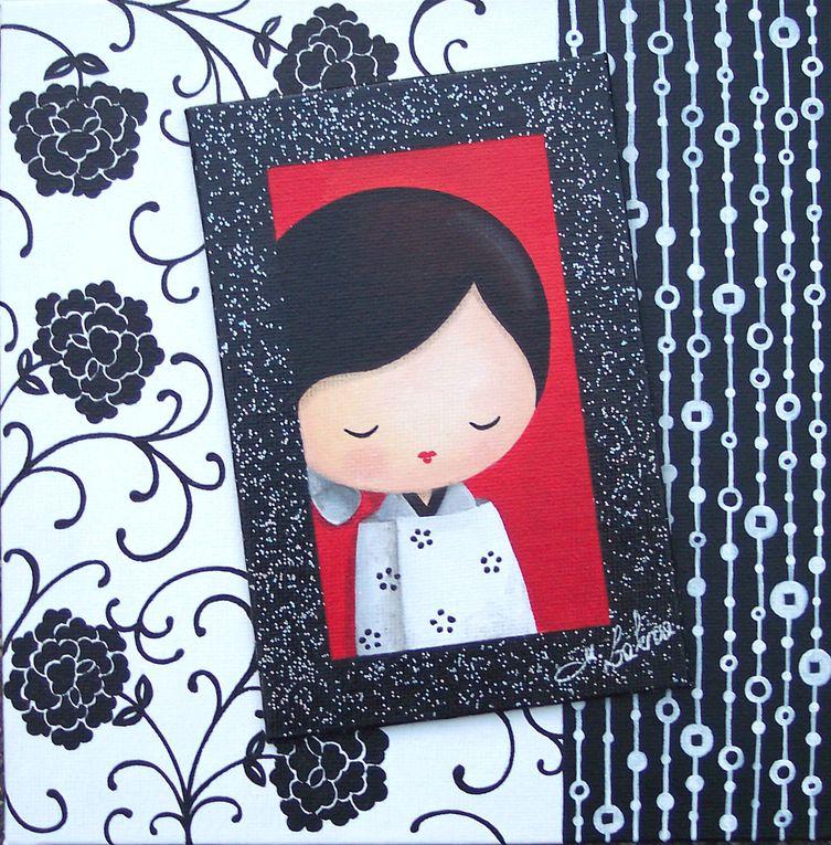 Peinture acryliques sur cartons toilés