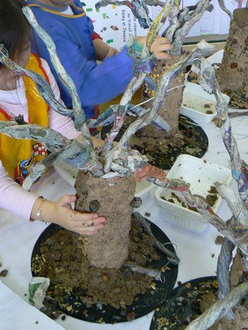 Création d'arbres en papier mâché avec les enfants de grande et de moyenne section de l'école maternelle Jean Rostan - Lyon 6. 2008-2009
