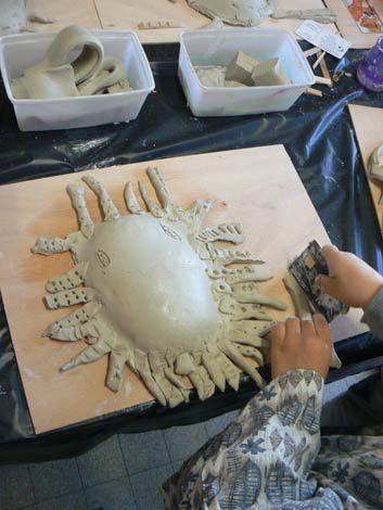 Modelage de masques en argile en s'inspirant de masques africains.