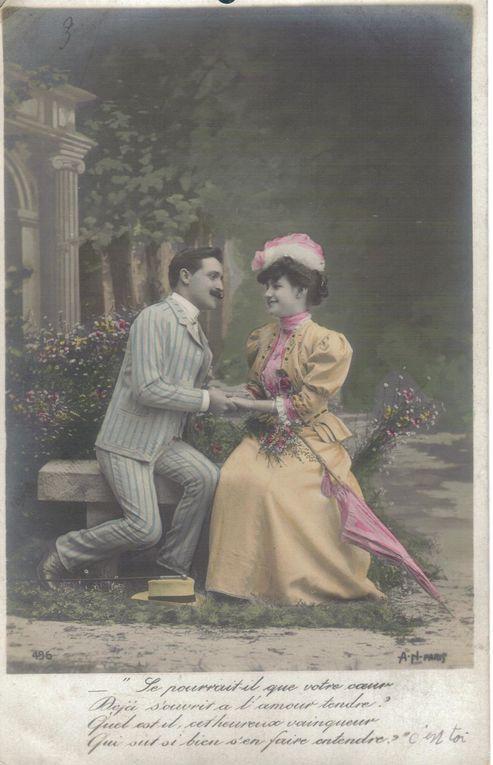 Cartes postales anciennes avec pour sujet principal l'amour