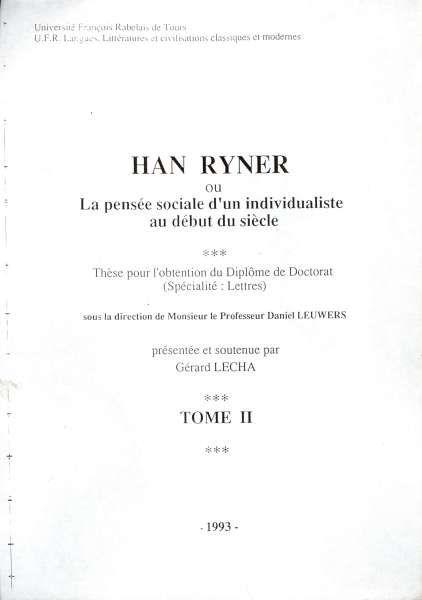 Etudes consacrées à Han Ryner.