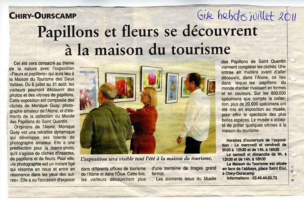 """Thème """"FLEURS ET PAPILLONS"""" du 6 juillet au 31 août 2011 à la Maison du Tourisme des Deux Vallées dans l'Oise à côté de l'Abbaye d'Ourscamp."""